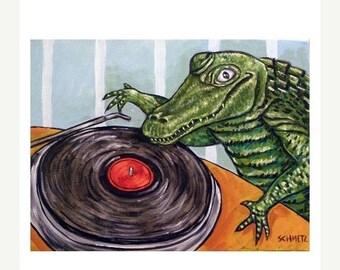 20 % off storewide Alligator DJ Art Print