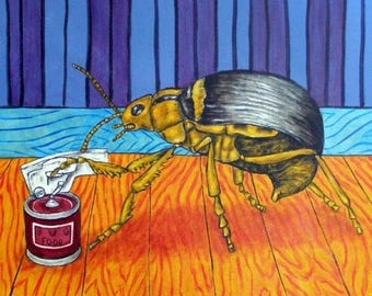 20% off storewide Beetle Opening a Can (Can Opener) Insect Art TIle Coaster