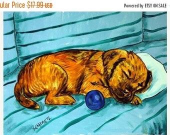 20% off Border Terrier , border terier art, gift, sleeping dog, 11x14 print, boder terrier print, modern folk art, folk art