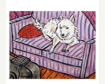 20% off Samoyed Watching Television Dog Art Print