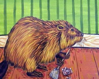 20% off Beaver Spring Cleaning Art Tile Coaster