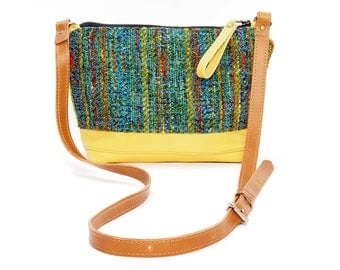Yellow Leather and Vintage Upholstery Fabric Cross Body Bag
