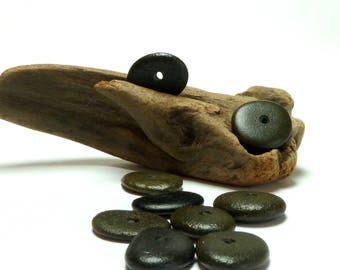Beach Sea Stones DARK DEPTH Pebbles Center Drilled Jewelry Rondelles Black Donuts diy Spacers Rocks Beachstone Wheels