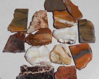 SL-107   14 Assorted Rough Slabs Lapidary Rough Rock Slabs