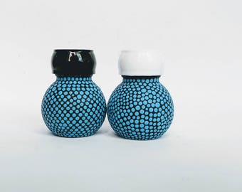 Orbit salt and pepper shakers hand painted glass