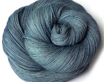Lace Yarn Hand Dyed Yarn Lace Glimmer Merino and Silk - Waves on the Lake