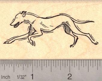 Running Greyhound Rubber Stamp J12613 Wood Mounted