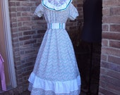 Victorian Kids Costumes & Shoes- Girls, Boys, Baby, Toddler Prairie Party Dress calico print dress pioneer dress Oklahoma dress girls size 10 $74.00 AT vintagedancer.com