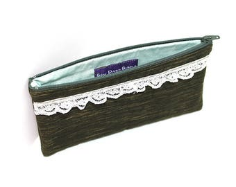 Cosmetic Case, Cord Case, Bridesmaid Gifts, All-Purpose Zipper Case, Olive Green with Lace Accents