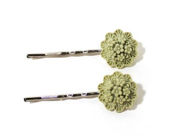 HALF PRICE SALE Pale green flower bouquet vintage silver bobby pin duo Last One