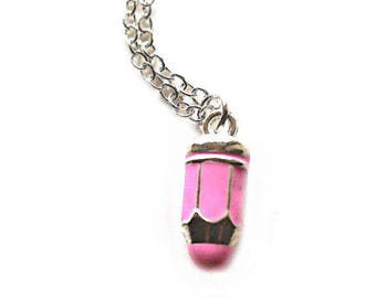 Pink and silver pencil charm silver necklace