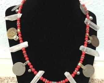Collier de corail rouge en cristal point