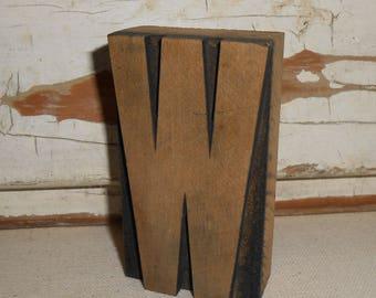 Vintage Letter Wood Press, Vintage Woodpress Letter W, Vintage Letter, Industrial Chic