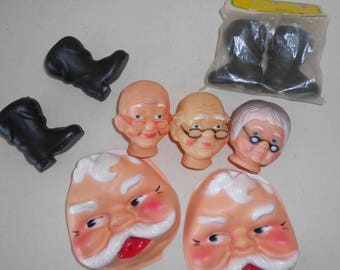 Vintage Santa Clause and Mrs Clause Doll Marking Supplies, Vintage Santa Heads, Vintage Santa Boots