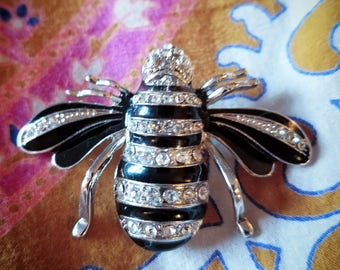 Silverstone Rhinestone and Black Enamel Bee Pin