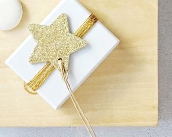 Big Gold Glitter Star Tags {10} | Gold Glitter Tags | Gold Glitter Stars | Gold Star Tags | Christmas Star Tags | Holiday Star Tags