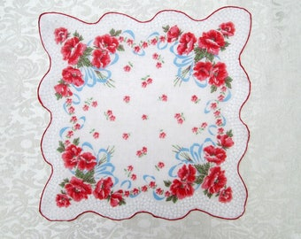 Vintage Handkerchief Printed Hankie Hanky Red Floral Bouquets Pink Flowers Scalloped Vintage Linens Retro Accessories Mint New Unused