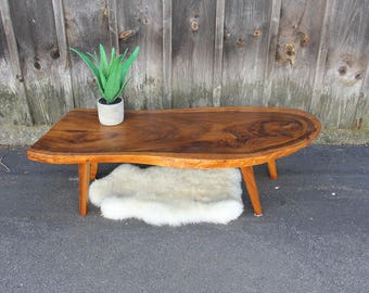 Modern Slice Live Edge Mid Century Coffee Table