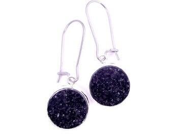 Black Faux Druzy Earrings Stainless Steel Kidney Earwires