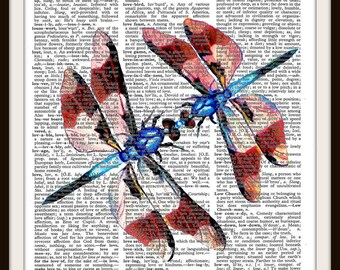 Kissing Dragonflies--Love--One of a kind- Dictionary Art Print---Fits 8x10 Mat or Frame