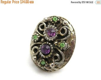 OnSale Boho Rhinestone Ring - Adjustable Chunky Purple & Green