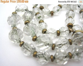 OnSale Vintage Clear Glass Beaded Necklace - Art Deco