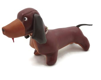Mid Century Naugahyde Dog Stuffed Animal - Dachshund Figurine Doll