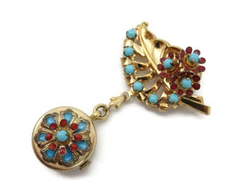Leaf Watch Brooch - 12k Gold Fill, Pocket Watch Hook Turquoise Glass Red Enamel