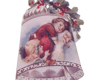 3 Santa Bell Double-Sided Paper Christmas Ornaments ~ Old Store Stock USA  OPF005