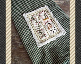 Prim Winter Hand Towel Collection 2-Primitive Stitchery  E-PATTERN-Instant Download