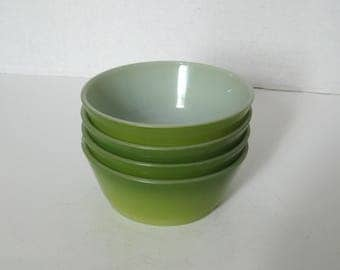 Vintage Fire King Avocado Green Small Bowls Set of 4
