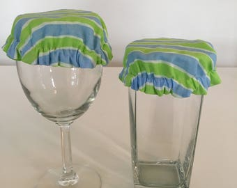 Reusable Wine Cup Glass Cover Blue Green Stripe Fabric