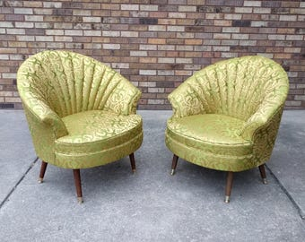 2 HOLLYWOOD regency satin barrel back lounge chairs Shipping Special