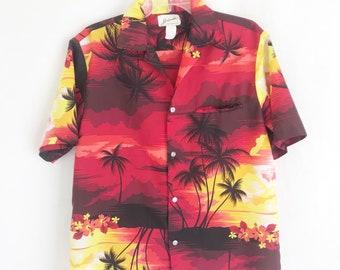 Vintage 60's Polyester Hawaiian Shirt. Men's Small