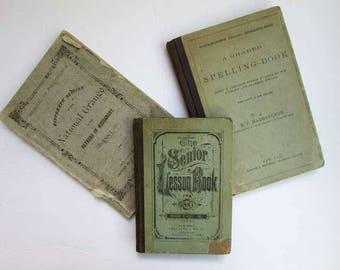3 Antique  1881 Books,  Antique School Lesson Books, National Grange Book, Time Worn Blue Green Covers, Antique Book Decor