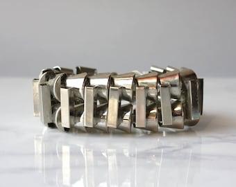 Machine Age Chrome Bracelet / Vintage 1930s Silver Tone Chunky Link Bracelet / Brutalist Modernist Chrome Bracelet
