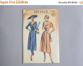 STOREWIDE SALE 1950s Sewing Pattern / Vintage 50s Uncut Dress Pattern / Advance Pattern 5461 Portrait Collar Pleated Skirt size 20 bust 38 w