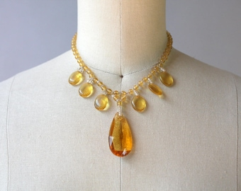 1930s Citrine Drop Choker Necklace / Vintage 20s 30s Faceted Amber Glass Necklace / 1920s Beaded Choker Necklace