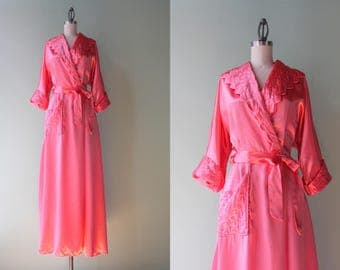 1950s Robe / Vintage 1940s Liquid Satin Dressing Gown / 50s Pink Satin Maxi Robe Small extra small XS S