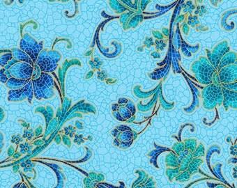 Floral Blue Metallic Design Villa Romana Kaufman Fabric