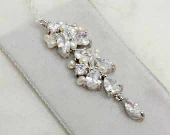 Crystal and Freshwater Pearl Pendant Wedding Necklace