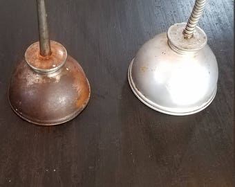 Two Different Vintage Oil Cans Primitive Rustic Use for Ring Holder