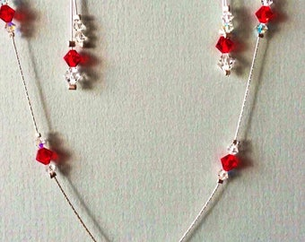 Red Swarovski Crystal Necklace and Matching Dangle Earrings