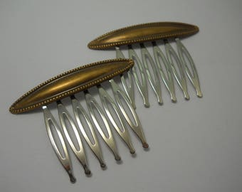 Solid Brass Embossed  Metal Combs Unique One of a Kind Handmade Hair Pins Hair Clips Everyday Hair Accessory