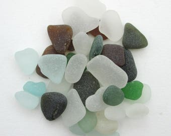 Surf tumbled English beach glass, sea glass, Cornwall, eco craft supply, jewelry making supplies, 30 frosted pieces, UK collector and seller