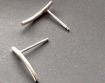 Silver Sterling Curved Cylindrical Stud Earrings