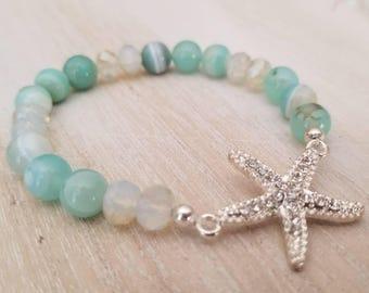 Silver and blue starfish gemstone bracelet | blue agate beaded bracelet | statement bracelet | beach jewelry| stacking bracelet