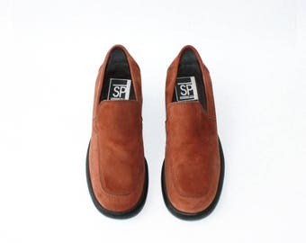 1990's Rust Brown Nubuck Loafers Platforms
