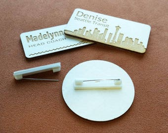 Wood name badges with pin fastener