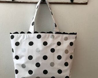 Beth's Large Black and Silver Dot Tote Bag with Black Rick Rack Trim